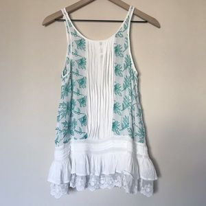 Anthropologie Tops - Anthropologie Lilka Teal and White Swing Tank